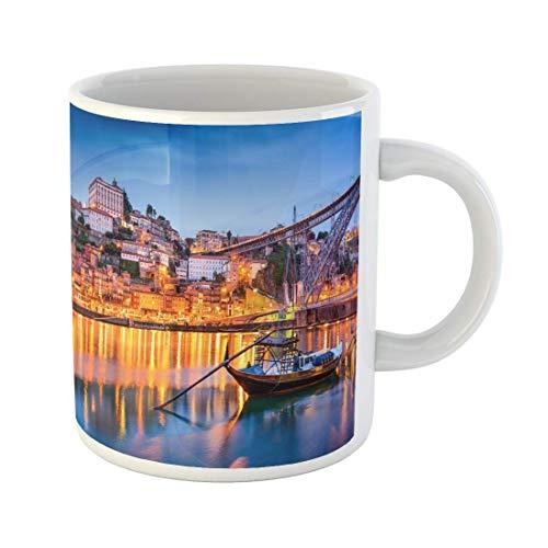 Taza de café Noche Porto Portugal Old Town Skyline Río Duero Oporto Vino 11 Oz Tazas de café de cerámica Taza de té