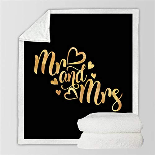 Manta Sherpa para pareja Colcha de felpa con letras románticas Mr y Mrs Golden Manta personalizada San Valentín 150 * 200Cm