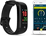 FOMO Fit Color Screen Fitness Tracker - Waterproof, Black Band - Sports Watch with Heart Rate Monitor - Step Count and Sleep Monitoring with Phone App