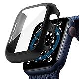 TOPACE Schwarz Hard Apple Watch Series 6 / SE/Serie 5 / Series 4 Hülle Mit Panzerglas Displayschutz 40mm, 360°Rundum Schutzhülle, Ultradünne PC Hardcase für iWatch 40mm