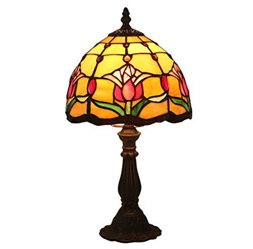 Tiffany Style Light, Tiffany Style Lámpara de mesa para niños Lámpara de noche floral vintage Lámpara de mesa de noche con vitrales europeos hechos a mano para dormitorio, sala de estar, 7.8 pulgadas