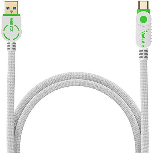 Volutz USB C a través de usb 3.0 cable, nylon trenzado, datos rápidos y cable de carga, Compatible con Samsung Galaxy S10 / S9 / S8, Huawei P30 / P20, Sony Xperia XZ, Apple iPad, 2m blanco-verde