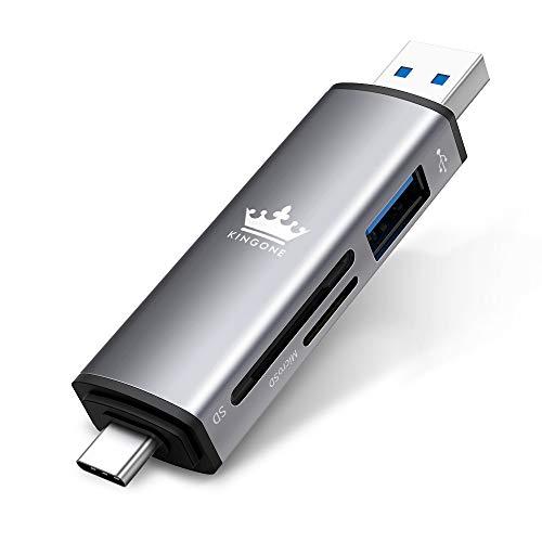 KINGONE USB C Kartenleser USB 3.0 Kartenleser SD Adapter Typ C Kartenlesegerät USB C SD Kartenleser SD und TF für MacBook Pro/Huawei P30 Pro/Mate 30 Pro/Honor/Xiaomi (Weltraum grau)