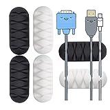 6 Stück Fünf-Kanal Kabelhalter, Schwarz Weiß Kabel Organizer Set, Mehrzweck Kabelclips Selbstklebende für Netzkabel, USB Cable, Ladekabel, Audiokabel, Cable Schreibtisch Kabelführung, ZuhauseBüro