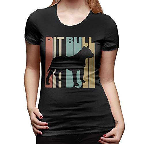 WoodWorths Pitbull1 Womens Short Sleeve T Shirt Tees Sport Summer(XL,Black)