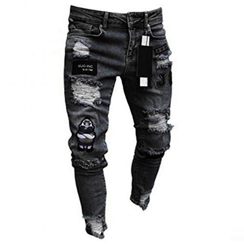 ShSnnwrl Guapo Jeans Vaqueros Pantalon Pantalones Rasgados Entallados para Hombres Pantalones con Parche De...