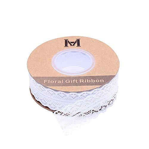 EXQULEG 45 Meter Spitzenband Weiss Beige Vintage Spitzenbordüre Zum Nähen für Hochzeit Tischdeko Basteln Geschenkband Kraftpapier (Weiß)