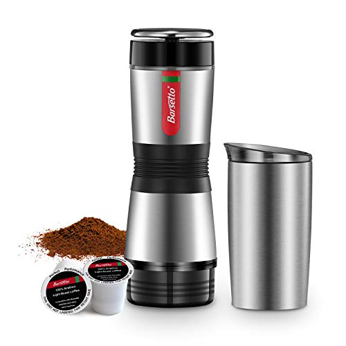 Portable Small Coffee Maker, Compatible for Capsule and Ground Coffee, Fast Extraction System Coffee Machine with Stainless Steel Insulation Cup for Travel Hiking and Picnic, Manually Operated from Piston Action