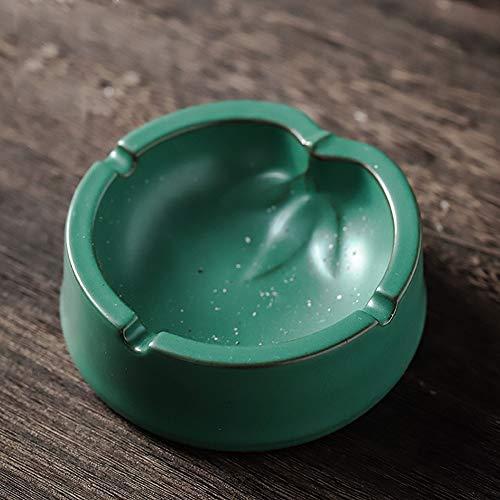 Posacenere Retro Style giapponese gres Posacenere in ceramica con il coperchio del salone della casa multifunzione for l'ufficio Posacenere, Verde Ash Vassoi ( Colore : Verde , Size : 11X11X4.5cm )