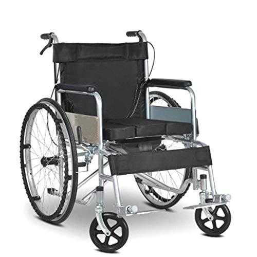 Cajolg Multifunktionsrollstuhl, faltbar, leicht zu transportieren mit Töpfchenrollstuhl, älterer behinderter Hand-Push-Roller, geeignet für Spaziergänge, Tourismusrollstühle