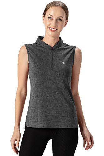 donhobo Damen Ärmelloses Sport Golf Poloshirt Quick Dry Athletic Tank Tops UPF 50+ Fitness Running Shirt (Dunkelgrau, M)