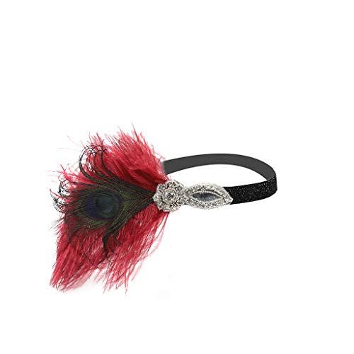 Roiper Bandeau Plume Flapper Headband Gatsby Art des Années 1920 Cérémonies Accessoires de Cheveux Bandeaux Plume Classique Partie à Thème