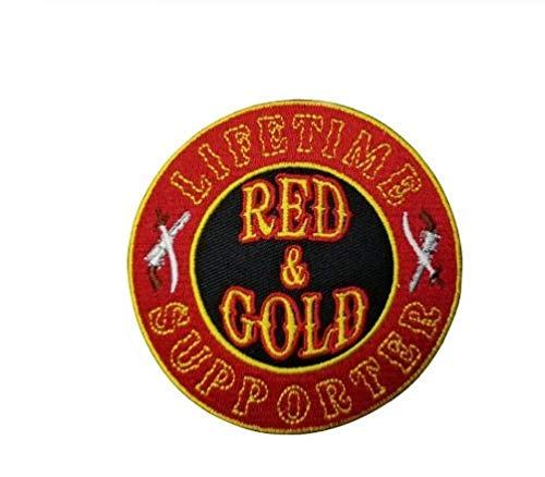 %55 OFF! 10/Pcs A Lot for Biker Round Front Embroidery Life Time Supporter Red Gold Patch
