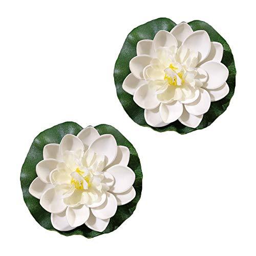 Künstliche schwimmende Lotusblüte aus Schaumstoff, Seerose und Lotusblätter, Teichdekoration für den Außenbereich, Garten, Teich, Nachtlicht, Pool-Dekoration, 2 Stück weiß