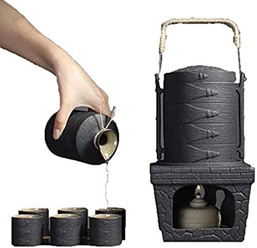TEPET 9 Pcs Sake Set,Black Glaze Jese Ceramic Sake Set with Hot Pot and Candle Cooker,for Cold/Hot/Shochu/Tea,Best Gift for Family and F