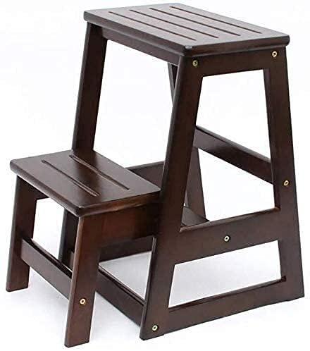MAMINGBO Paso madera silla de tijera Escalera de tijera de cocina escaleras de madera de madera de la escalera de heces, 2-Paso Paso de heces, heces creativo casero plegable de múltiples funciones ple