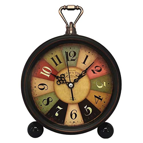 Konigswerk Vintage Retro Old Fashioned Decorative Quiet Non-ticking Sweep Second Hand, Quartz Analog Large Numerals Desk Clock, Battery Operated, Loud Alarm (Tuscan Style)