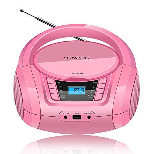 Radio Portatile Boombox, LONPOO Lettore CD MP3 Bambini con USB, Bluetooth, Stereo Radio FM, AUX IN Jack e Jack per Cuffie