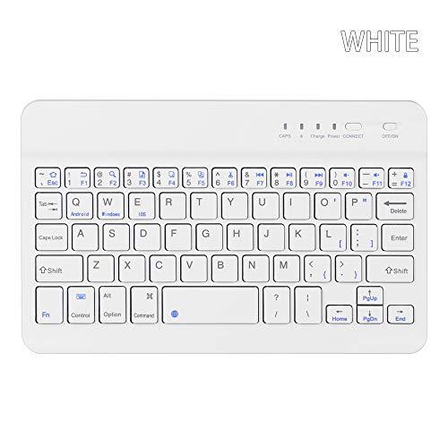 Carryyourlife Ultra Slim Wireless Bluetooth Tastatur 59 Tasten wiederaufladbar tragbar für iOS Android Windows PC weiß weiß