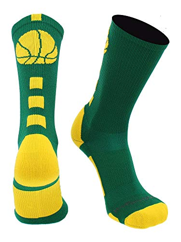 MadSportsStuff Basketball Logo Athletic Crew Socks, Small - Kelly Green/Gold