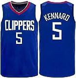 Kennard # 5 Camiseta De Baloncesto para Hombre, Clippers Training Game Jersey Mesh Sin Mangas Training Uniform Polo Shirt,B,L