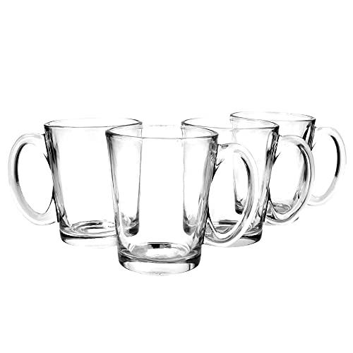 com-four® 4x Vaso de té con mango - Taza de vidrio para té o café - Taza cafe grande - Taza cristal para té (04 piezas)