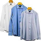 [§SHIMANTO\JAPAN∞清流] ニットシャツ 長袖 抗菌 スムース [ポケット付] 2021-S4 メンズ ブルー L