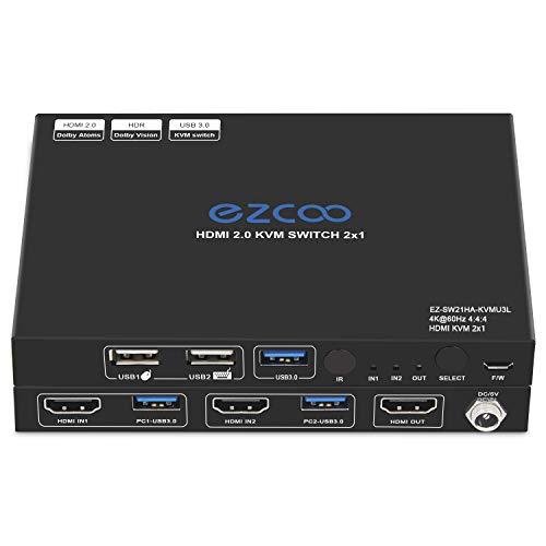 HDMI KVM Switch 4K 2 Ports USB 3.0, Teilen Sie 2 Computer mit einer Tastatur Maus, unterstützt 4K60 4:4, HDR Dolby Vision, HDCP2.2. Kabellose Tastatur- und Mausanschlüsse, USB 3.0-Kabel im Lieferumfang enthalten