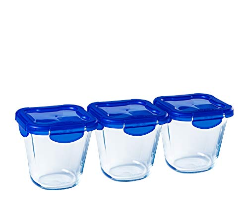 Pyrex - Cook & Go - Set of 3 Tall Glass Storage Containers with Airtight Lids and Leakproof Containers 0.8L - BPA Free
