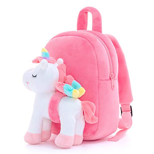 Lazada Unicorn Baby Girl Gift Kids backpack Toddler backpack Plush Bag with toy White 11 Inches 3 Year And Up