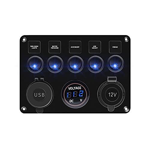 JIAQING 5/6 Gang Grange Toggle Rocker Switch Panel Fuse 4.2A Dual USB Socket Pantalla de Voltaje Digital Ajuste para Accesorios para Barco de Camiones de Coche Marino (Color : 5gang Blue)
