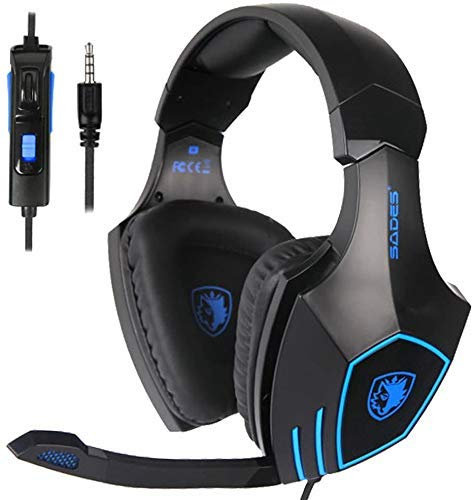 SADES SA819 Gaming Headset for PC, MAC, PS4, Xbox ONE, 3.5mm Surround Stereo Wired Gaming Headset, Over Ear Headphones with Mic Revolution Volume Control, Noise Canceling(Black) Headsets