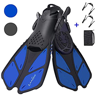 OMGear Swim Fins Snorkel Fins Short Diving Fins Swim Flippers Open Heel with Mesh Bag for Lap Swimming Snorkeling Diving Adult Men Women Kids Travel Size(Blue, S/MD (Kids JR 9-13))
