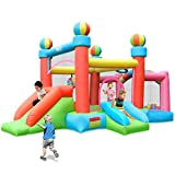 Naice Bounce House, Inflatable Bouncer with Two Slides, Jumping Castle for Kids Outdoor Backyard Playhouse with Blower Extra Thick Material Inflatable Slide Multicolor