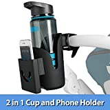 Cup Holder with Phone Holder, Cup Holder, 2-in-1 Bottle Holder for Bike, Stroller, Wheelchair, Bicycle, Walker, Rollator, and Treadmill