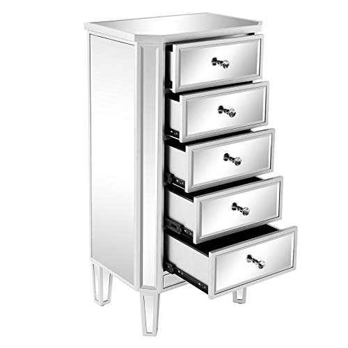 VINGLI Mirrored 5-Drawer Chest Silver Storage Dresser for Bedroom, Dressing Room, Living Room, Entryway, Home Office