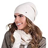 Kamea Dame Beanie Mütze Winter Kopfbedeckung Warm Gemustert Einfarbig Hola, Beige,Einheitsgröße