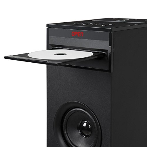 auna Karaboom - Karaoke Anlage, Karaoke Player, Karaoke Set, Turmlautsprecher, integrierter CD-Player, Bassreflex, Bluetooth, 2 x Mikrofon, USB-Port, MP3-fähig, AUX-IN, schwarz