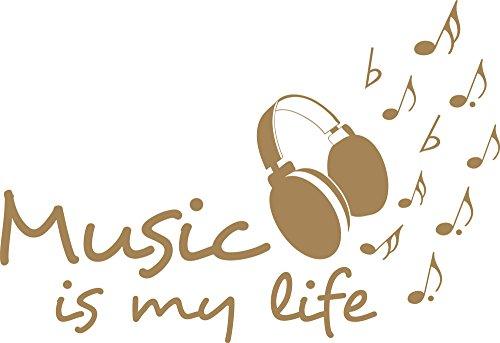 GRAZDesign Deko Aufkleber Musik ist Mein Leben - Wandsticker Zitat Spruch mit Noten - Wandtattoo Kopfhörer / 83x57cm / 081 Hellbraun