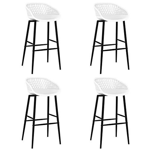 vidaXL 4X Taburetes de Cocina Muebles Interior Sillas Altas Asientos de Bar Barra Bistró Mostrador Hogar Pub Respaldo Comedor Casa Blanco