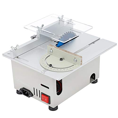 Huanyu Mini Table Saw Upgraded 300W 9000RPM Precision Multifunctional Table Saws Woodworking Lathe Polishing Bench Handmade Adjustable Blade Model Electric Portable Cutting Saw For DIY Crafts (Group1)