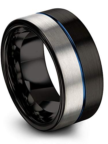 Chroma Color Collection Tungsten Carbide Wedding Band Ring 10mm for Men Women Blue Center Line Black Interior with Grey Exterior Flat Cut Half Brushed Polished Comfort Fit Anniversary Size 14