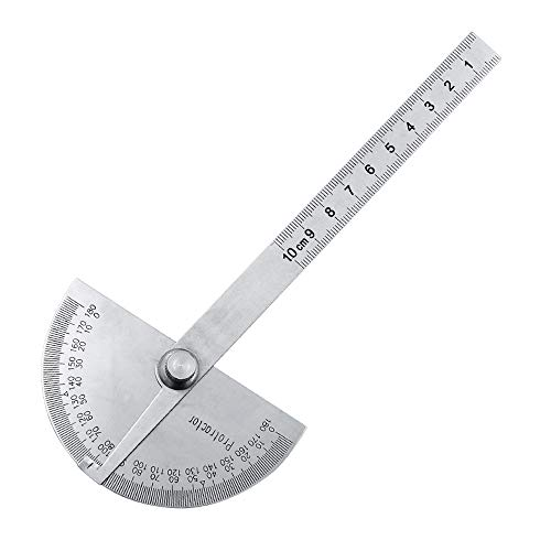 IKAAR Protractor Angle Protractor Stainless Steel Angle Finder Tool Craftsman Ruler Machinist Tool with Round Head 0 to 180 Degrees, 3.94 Inch Arm Silver