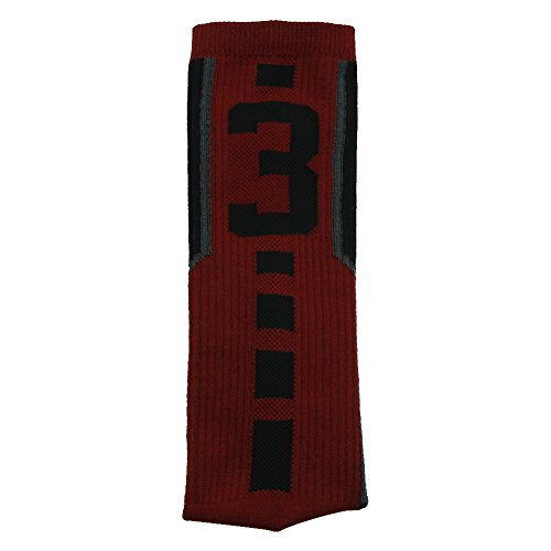 Football Socks, Comifun Adults Teens Mid Calf Custom Team Number Athletic Player ID Socks 1 Pair for Baseball Basketball, Red/Black