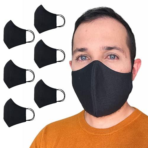 Anilev Mascarillas Reutilizables de Tela Lavables Pack de 6 negras Mascarillas Higienicas Homologadas con Certificado UNE 0065   Mascarillas de Tela 3 Capas   Mascarillas tela negra