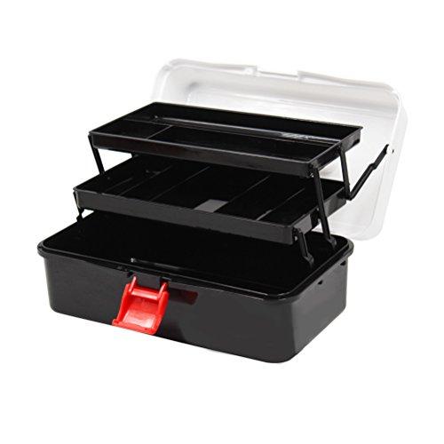 YUNCLOS ストレージボックス小さな収納ケースツールボックス三段ツールボックス収納ボックス薬プラスチック製のツール収納三段折りたたみ大容量 ブラック