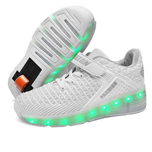 Zapatillas deportivas unisex para niños y niñas, con luz intermitente, con luces LED recargables USB, retráctiles, deportivas, deportivas ajustables al aire libre, Blanco 8099d, 36 2/3 EU