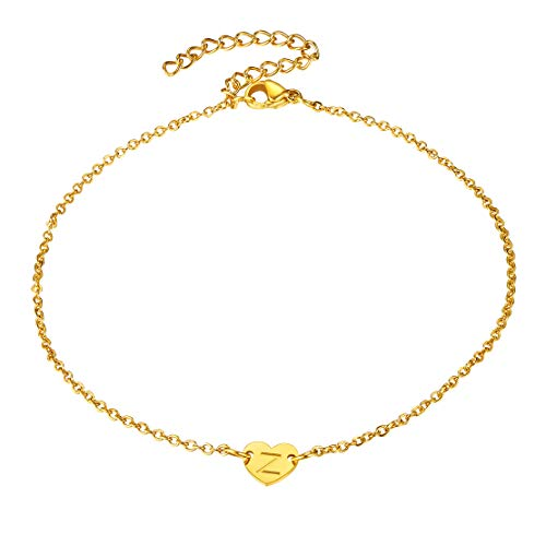 FindChic Personalised Love Heart Bracelet Womens Gold Plated Stainless Steel Bracelet With Z,Personalised Small Bracelet For Girls With The Letter Z