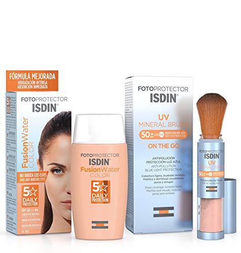 Isdin Fotoprotector UV Mineral Brush SPF 50+, Protector Solar Facial de Uso Diario, 2 g + Fusion Water COLOR SPF 50 - Protector solar facial de fase acuosa con color para uso diario, 50 ml