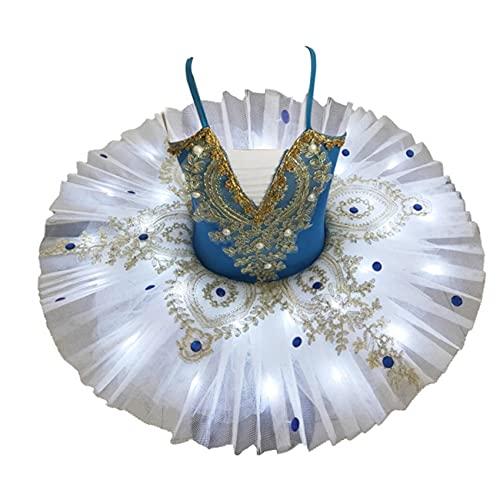 SHADIOA 2021 tut de Ballet con luz LED Profesional, Disfraz de Lago de los cisnes, Vestido de Bailarina para nias, Vestido de Ballet para nios, Disfraces de Escenario de Baile,D,100CM